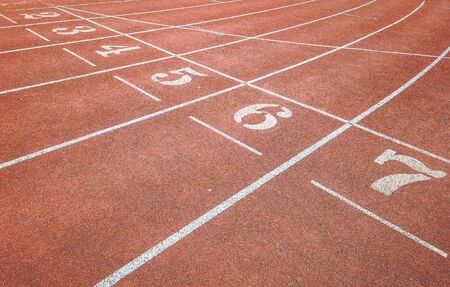 Background of running track surface with number one to seven with intersection lines