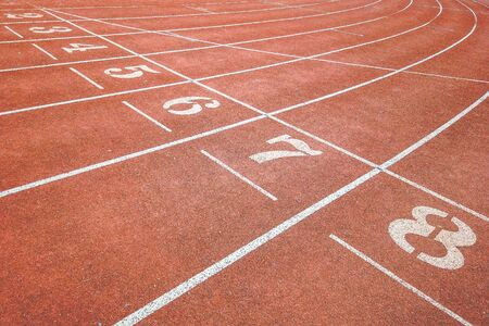 Background of running track surface with number one to eight with intersection lines
