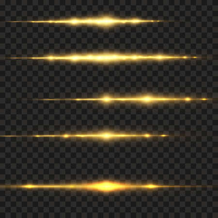 Stylish golden light effect. Abstract laser beams of light. Chaotic neon rays of light. Golden glitters. Isolated on transparent dark background. Vector illustration. EPS 10 Vecteurs