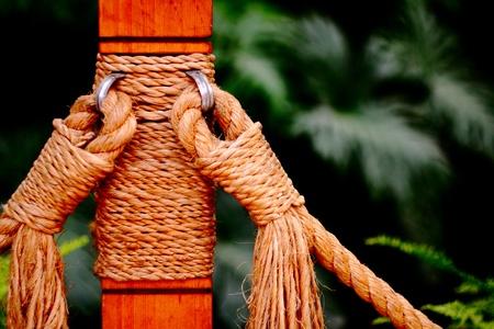 iron hoops: Wooden posts Stock Photo