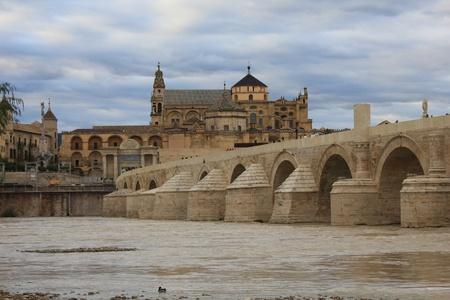 caliphate: roman bridge and mosque of cordoba