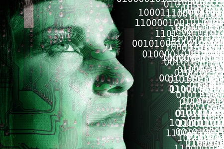 inteligencia: Cyborg lectura de un c�digo binario Foto de archivo