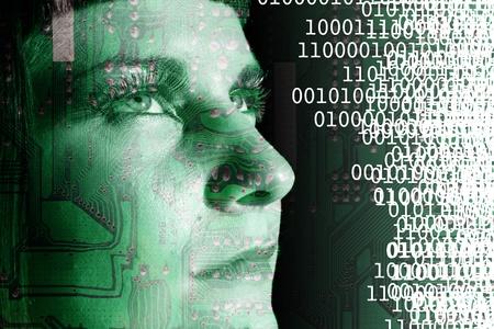 Cyborg reading a binary code Stock Photo - 13487683