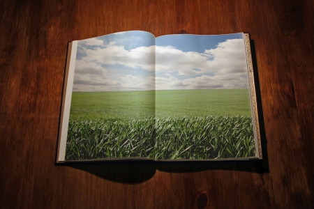 Open book with green landscape photo