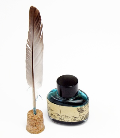 Inkwell and pen isolated