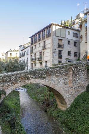 paseo: Bridge on the Paseo de los Tristes in Granada - Spain