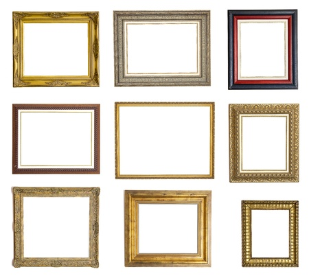 full frame: Set of different picture frames isolated on white background Stock Photo