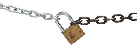 Chain and padlock isolated on white background  photo
