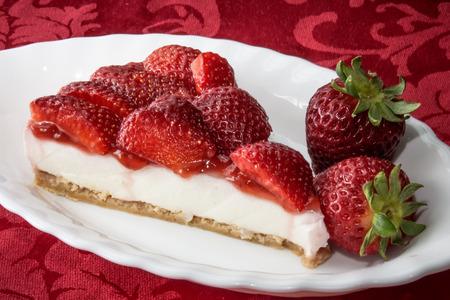 Cheesecake with strawberries  Archivio Fotografico