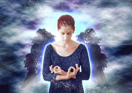 dark angel: Angel meditating