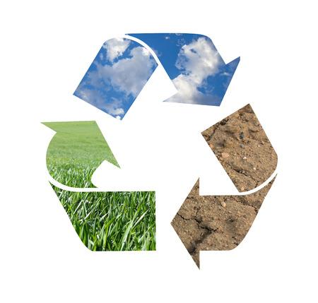 sostenibilidad: Símbolo de reciclaje Foto de archivo