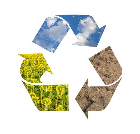 desechos organicos: Símbolo de reciclaje Foto de archivo