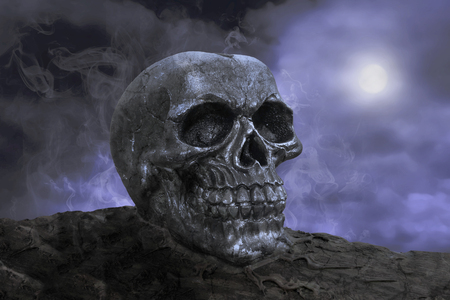 end of world: Skull in the night Stock Photo