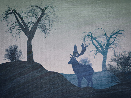 naif: Illustration of a reindeer in a forest in blue tones