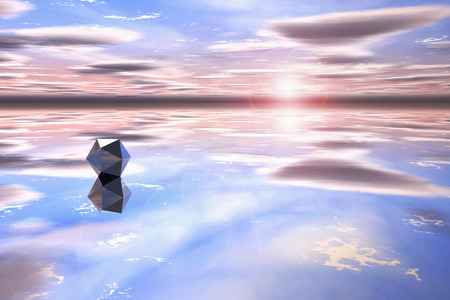 watery: Futuristic geometric shape in a watery landscape at sunset