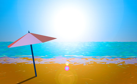 sunset beach: Illustration of an umbrella on the beach