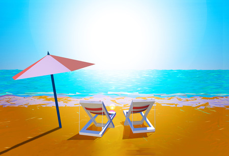 reclining: Chairs and umbrella on the beach Stock Photo