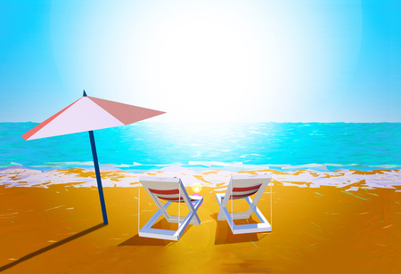 sand background: Chairs and umbrella on the beach Stock Photo
