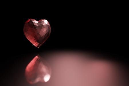 glass heart: 3D illustration - Red glass heart