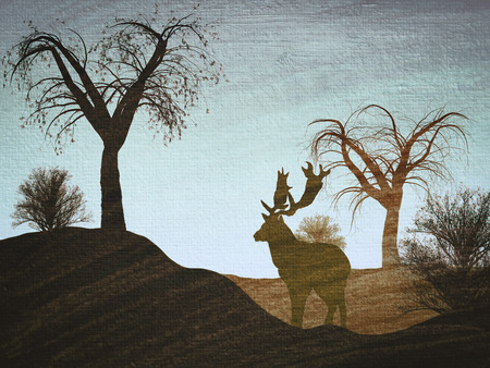 naif: Illustration of a reindeer in a forest