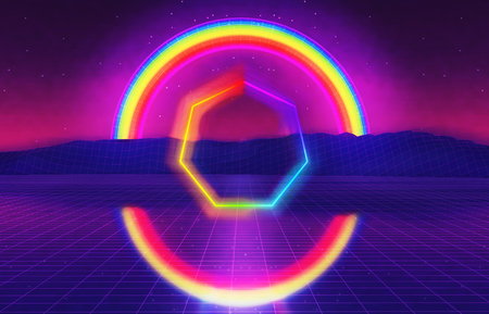 80s futuristic landscape with rainbow