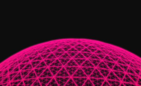 Spherical pink grid on black background Stock Photo