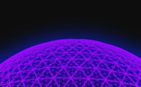Spherical purple grid on black background Stock Photo