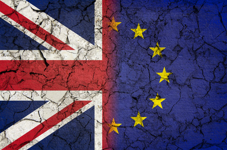 Brexit flag with cracked texture Stock Photo