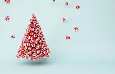 3D illustration - Red stripes balls Christmas tree Stock Photo