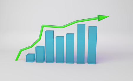 3D Illustration - Business graph with increasing arrow
