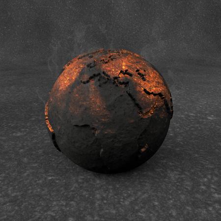 barren: 3D Illustration - Incandescent planet earth Stock Photo