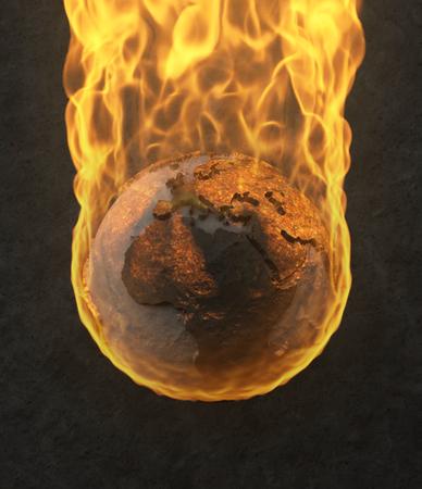 3D Illustration - Planet Earth burning
