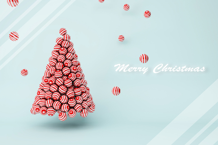 3D illustration - Red stripes balls Christmas tree with text