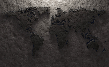 backdrop design: Stone relief of a world map