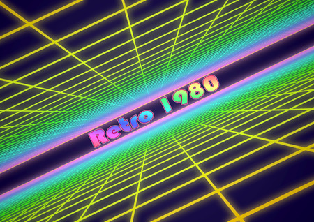 3D Illustration - Colorful grid background with text Retro 1980