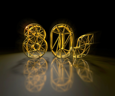 3D illustration - Golden 80s text