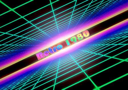 3D Illustration - Colorful grid background with text Retro 1980.