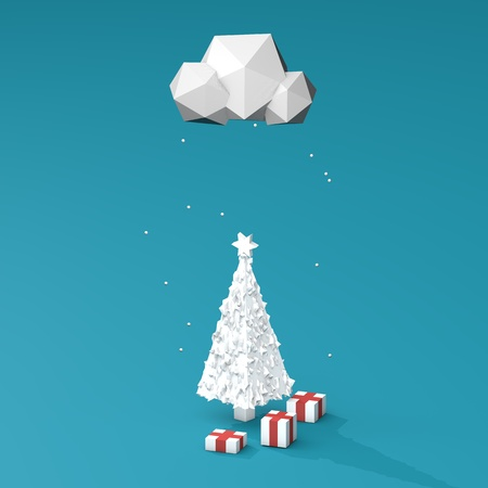 postcard box: 3D illustration - Low poly christmas tree with cloud snowing