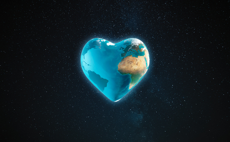 3D Illustration - The earth with heart shape Stock Photo