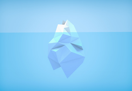3D illustration - Low poly iceberg Stock Photo