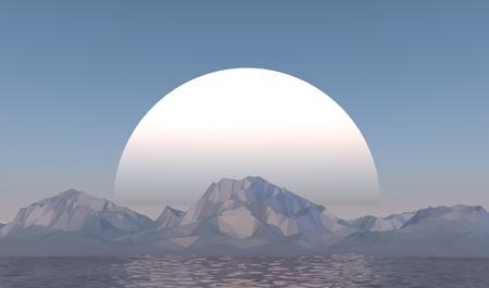3D illustration - Low poly mountains landscape