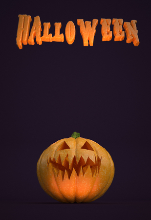 """Illustration 3D - Affiche verticale avec texte """"Halloween"""" et une citrouille. Banque d'images"""