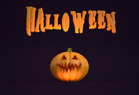 3D illustration - Horizontal poster with Halloween text and a pumpkin. Stock Photo