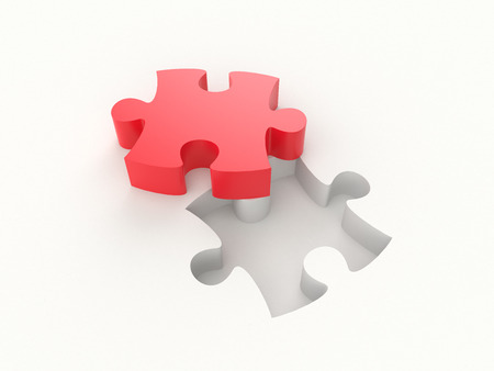 3D illustration - Red puzzle piece Stock Photo