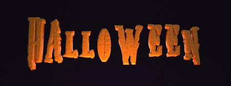 3D illustration - Halloween text on black background Stock Photo