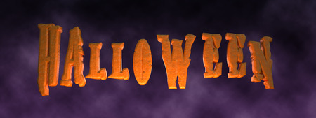 3D illustration - Halloween text on night sky with clouds