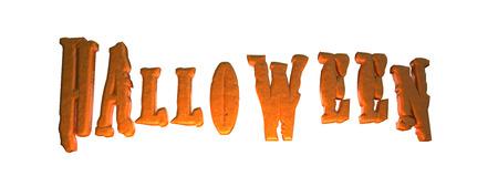 3D illustration - Halloween text on white background Stock Photo