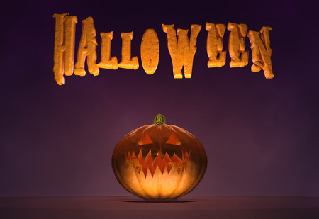 3D illustration - Horizontal poster with Halloween text and a pumpkin Stock Photo