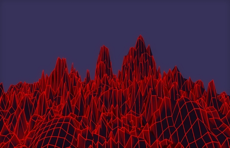 3D illustration - Red mesh mountains