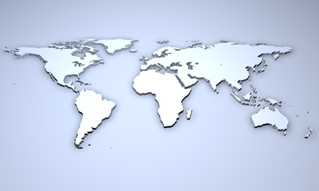 3D Illustration - Relief of a world map